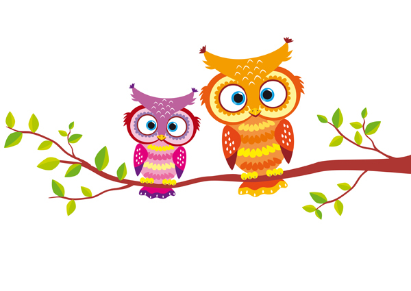 illustration of two bright and beautiful owls for your design